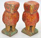 Vintage Wooden Owl Figurines Pair Original Old Hand Carved Painted