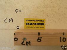 STICKER,DECAL GEREEDSCHAPPEN HANS V/D BROEK BROUWHUIS