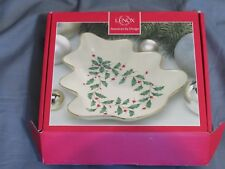 """New in Box Lenox 8 Inch """"Holiday Tree Candy Dish� 824735 Holly Berry Christmas"""