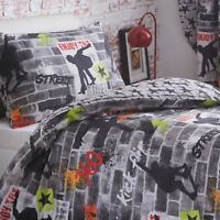 SKATEBOARD TRICKS SINGLE DUVET COVER SET GRAFFITI BOYS KIDS TEENAGER BEDDING
