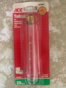 ACE 25 Watt Tubular Light Bulb, Appliance,  Picture frame, T6.5 3019890, New, C7