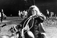 Janis Joplin 24x36 Poster classic image on motorbike hippy clothes sunglasses
