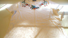 NWT LAURA SCOTT WOMENS FLORAL EMBROIDERED T SHIRT S/S WHITE LARGE