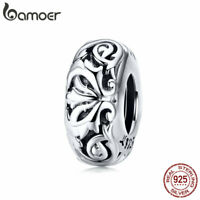 BAMOER Retro S925 Sterling silver Charm Vintage flower Bead For Women Jewelry