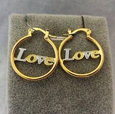 18k gold Filled  two-tone  Love  Hoop Earrings
