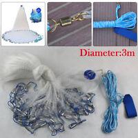 10/14/18/22FT Hand Cast Fishing Mesh Equipment Spin Network Bait Fish Net+Sinker