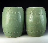 Pair of Chinese Antique Longquan Ware Porcelain Garden Stools