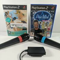 Singstar Pop Hits, Pop Idol, 2 Microphones/Mics + Adapter for Playstation 2/PS2