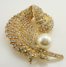 """Nolan Miller Fanciful  Feather Pin with Faux Pearl  3"""" GOLDTONE"""