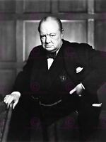 Vintage Portrait Winston Churchill Britain Prime Minister Canvas Art Print