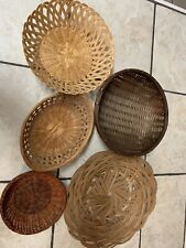 5 VTG Woven Wicker Rattan Bamboo Basket BOHO Farmhouse Wall Gallery