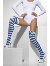 Ladies Sailor Stockings Womens Sexy Striped White & Blue Bows Thigh High Socks