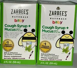 *TWO PACK* Zarbees Baby Cough Syrup + Mucus Grape 2 Ounce EXP 08/2022 -  Toddler