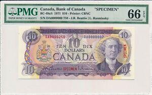 Bank of Canada Canada  $10 1971 Specimen PMG  66EPQ