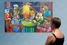 """57"""" - DOGS PLAYING POKER  - huge original  painting oil on canvas by ANNA !!!!"""