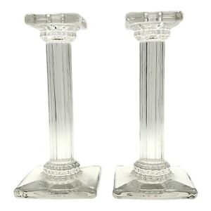 Antique Pair Fostoria Glass Co. #1064 Fluted Corinthian Crystal Candle Holders