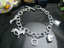 """925Sterling Silver Horse High Boot Shoes Charms Men Women Bracelet  8"""" FH074"""