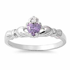 Silver Plated Band Amethyst Fashion Rings