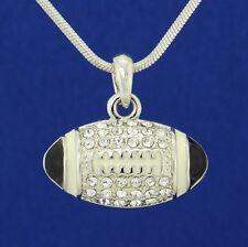 American Football 3D Ball W Swarovski Crystal Black Pendant Necklace Jewelry