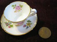 "Vintage OAKLEY Fine Bone China ENGLAND Mini 2 3/8"" Saucer & Tea Cup w/ Flowers"