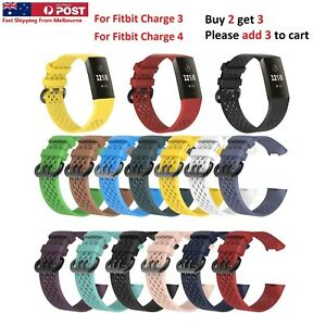 Fitbit Charge 3 4 Sports Band Silicone Replacement Strap Wristband