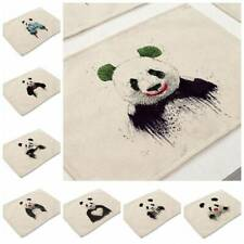 Cartoon Panda Painting Placemat Cotton Linen Home Dining Kitchen Table Cup Mat
