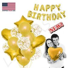 "28 pc Gold set Confetti Latex Metallic Balloons happy Birthday 16"" Foil Letter"