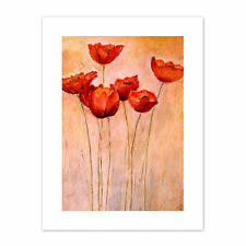 Flower Red Poppies Painting  Print Canvas Premium Wall Decor Poster