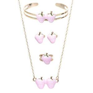 Gold-Tone Pink Enamel Strawberry Necklace Bracelet Earrings Ring Set