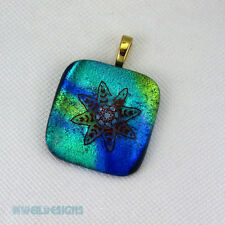 Dichroic fused glass pendant, blue, turquoise, water, necklace incl. p616 MWeil