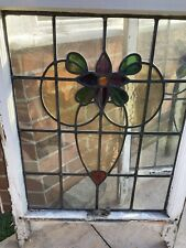 More details for set of five stained glass windows in sash panels