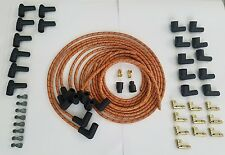 8mm Universal Cloth Covered Spark Plug Wire Kit Set Vintage inline 6 8 Or Bk Rd