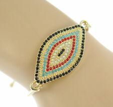 Turkish Evil Eye Bracelet Mother Black crystal CZ Women Tennis Adustable Jewelry