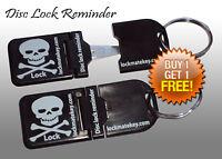 Black Metal Tip Disc lock reminder Motorcycle Accessories By Lock Mate Key