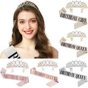 Birthday Queen Girl Schärpe Kristall Krone Geburtstag Hochzeit Party Rosa Gold