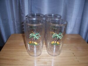 4 TERVIS TUMBLERS 16 OZ INSULATED GLASSES WITH PALM TREE/SUN