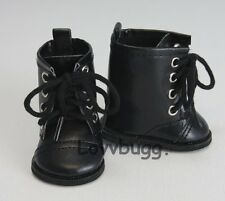 """Black Lace Up Riding Frontier Pioneer Boots for 18"""" American Girl Boy Doll Shoes"""