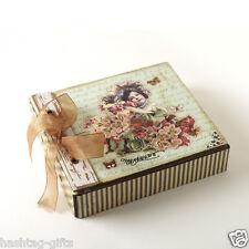 Vintage Memory Box - Storage Keepsake Wedding Trinket Jewellery Chest Ribbon