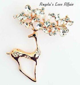 Christmasy Rose Goldtone klar crystalchristmas Xmas Deer Buck Hirsch Brosche Pin