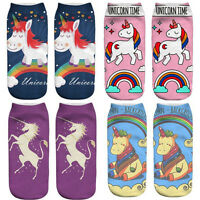 3D Unicorn Print Women Casual Low Cut Ankle Socks Cotton Animals Pattern Sock HG