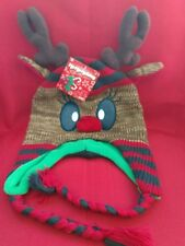 NWT! Ho-Ho Holiday  Unisex Rudolph Reindeer Knit Hat, with Pom Pom nose