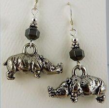 Pewter Rhinoceros 3D Earrings with Hematite gemstones, Rhino