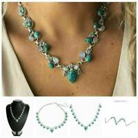 Wholesale Vintage Gemstone Flower Turquoise Silver Chain Necklace Jewelry