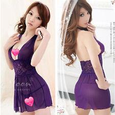 2014 Women Sexy Sheer Pajama Sleepwear V-neck Backless Robe Gown Dress G-string