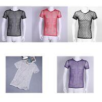 Mens Fishnet T-shirt Underwear Mesh See-through Sports Gyms Tank Top Vest Shirt