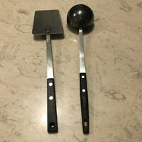 Vintage Ladle Flipper Household Stainless Utensils Black Handle Spatula