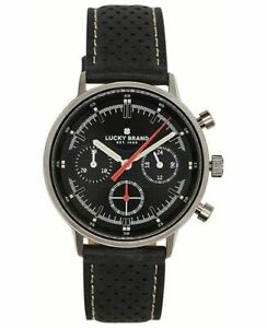 LUCKY BRAND Fairfax Chronograph perforated leather strap 40mm Men's watch BLACK