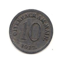 1917 Germany  Offenbach Ten Pfennig Notgeld Coin--Very Strong Detail