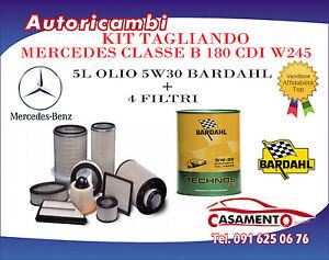 KIT TAGLIANDO MERCEDES C B 180/200 CDI 80/130 KW W245 + 5L OLIO BARDAHL C60 5W30