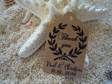 10 Kraft Brown Gift Tags Wedding Favour Bomboniere Personalised Thank you b7